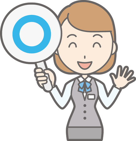 young asian girl: Illustration that a clerk of a clerk in uniform wears a circle tag