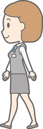 Illustration of a woman in a uniform wearing a uniform walking sideways