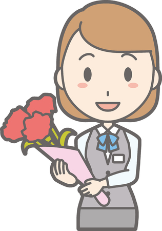 Illustration of a woman with a bouquet of flowers Illustration