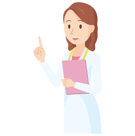 Illustrazione di un nutrizionista femminile che indica un dito obliquo - corpo superiore