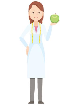 女性栄養士がリンゴ - 全身図  イラスト・ベクター素材