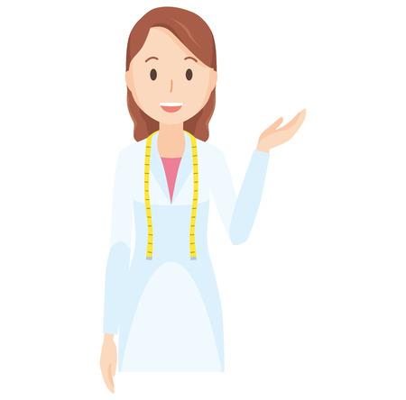 Illustration where a female nutritionist is raising one hand - upper body Illustration