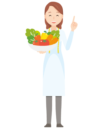 Illustration that a female nutritionist has vegetables - whole body Vectores