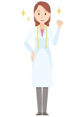 拳 - 全身を上げる女性栄養士のイラスト