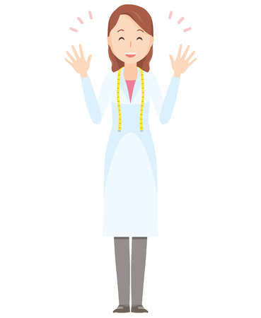 Illustration of a female nutritionist spreading hands - whole body