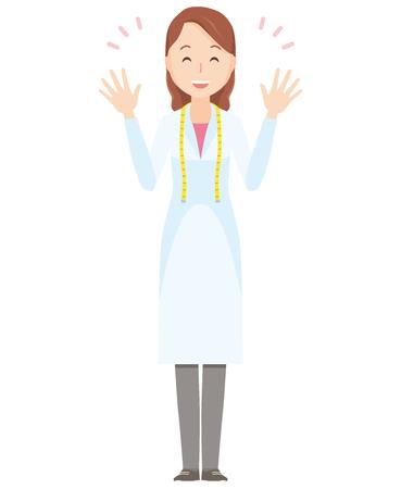Illustrazione di un nutrizionista femminile diffusione mani - tutto il corpo Archivio Fotografico - 87714791