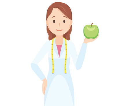 Illustration of a female nutritionist holding a fruit. Иллюстрация