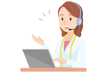Illustration in which a female nutritionist with headset icon.