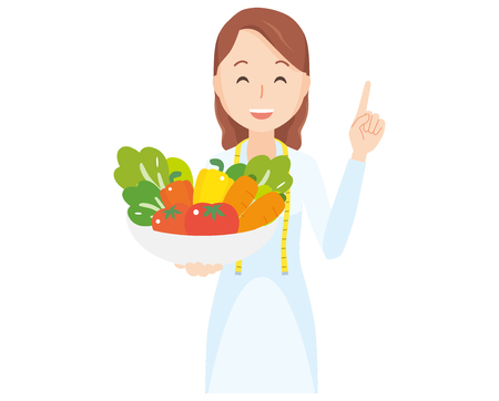 Illustration of a female nutritionist holding vegetables.