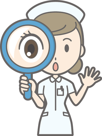 Nurse wearing a white suit has a magnifying glass