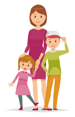 Family Illustration of a Mother and her Children 向量圖像