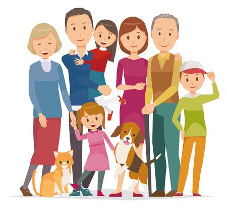 Illustration of family - 7 people of 3generation and pet in winter.