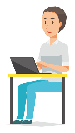 Illustration that a man wearing a short-sleeved shirt is working on computer. Illustration