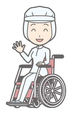 A female worker is sitting in a wheelchair and waving