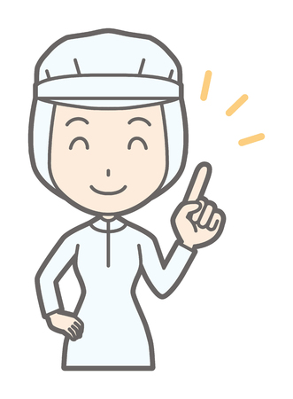 A female worker is pointing with a smile Illustration