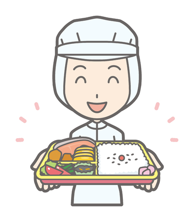 A female worker has lunch box Illustration