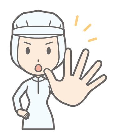 Una lavoratrice fuori la sua mano Vettoriali