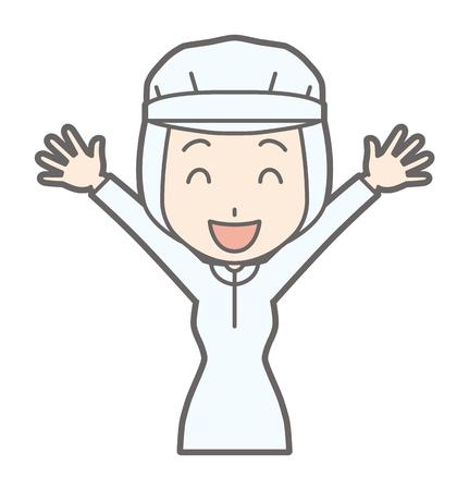 Una lavoratrice sta alzando le sue mani