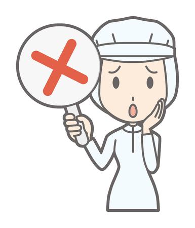 Une travailleuse a une étiquette de croix