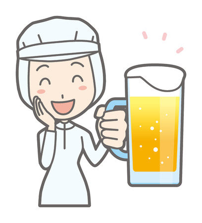 A female worker is drinking beer