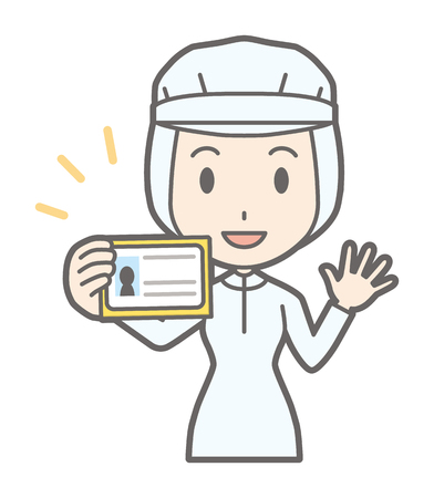 A female worker has an identification card