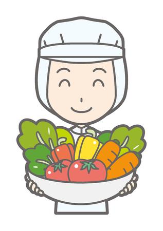 Una lavoratrice ha le verdure Vettoriali