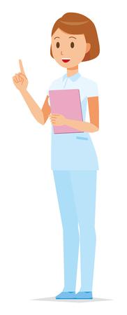 A female nurse wearing a white uniform pointing upward