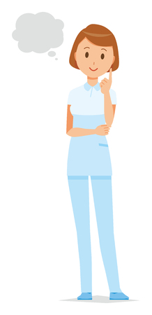 A female nurse wearing a white uniform thinks