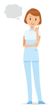 A female nurse wearing a white uniform thinks