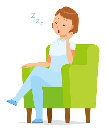 A woman nurse wearing a white uniform is sitting on a sofa and falling asleep.