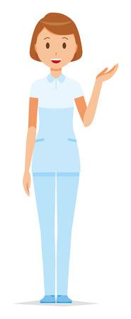 A female nurse wearing a white uniform is informed