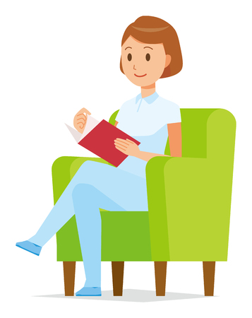 A female nurse wearing a white uniform is sitting on a sofa and reading books. Illusztráció