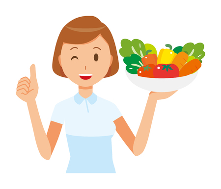 Illustration of a happy female nurse wearing a white uniform holding a bowl of vegetables.