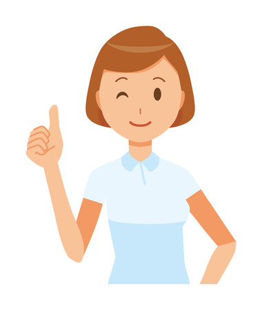 Illustration of a female nurse wearing a white uniform gesturing ok sign. Ilustracja