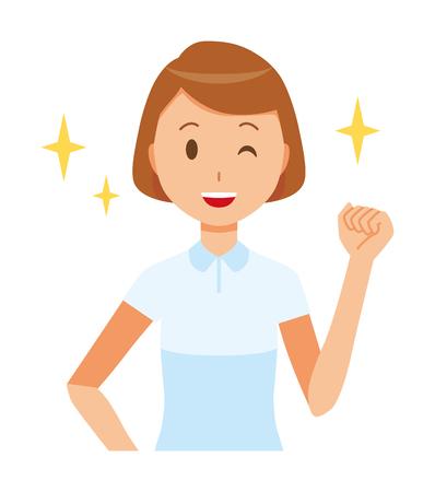 白い制服を着た女性看護師が拳を上げるイラスト。
