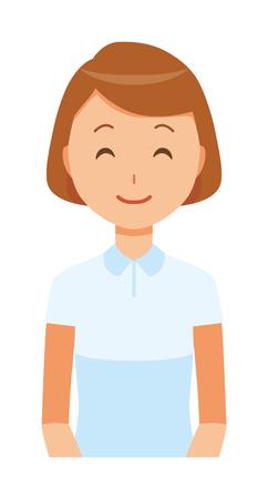 Illustration of a smiling female nurse wearing a white uniform. 일러스트