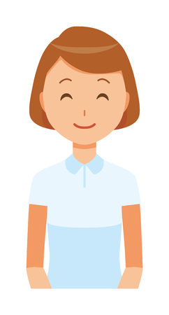 Illustration of a smiling female nurse wearing a white uniform. Illusztráció