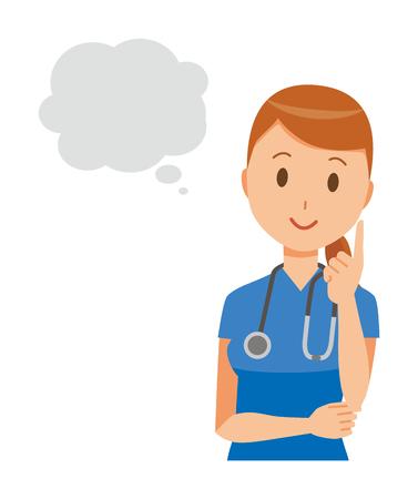 A female nurse wearing a blue scrub thinking.