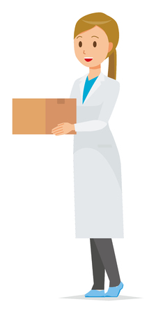 A woman doctor wearing a white suit has a cardboard box.