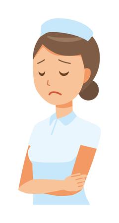 Female nurse wearing a nurse hat and white coat is depressed. Illustration