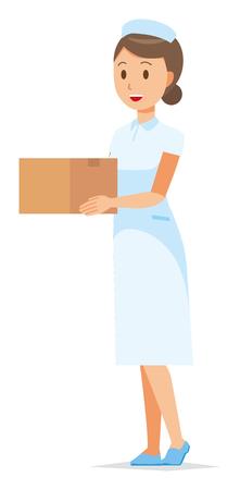 A woman nurse wearing a nurse cap and white coat has a cardboard box. Illustration