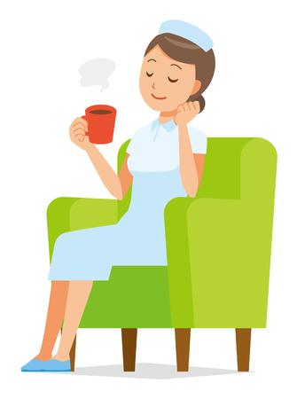 A woman nurse wearing a nurse cap and white coat is sitting on the sofa and drinking coffee.