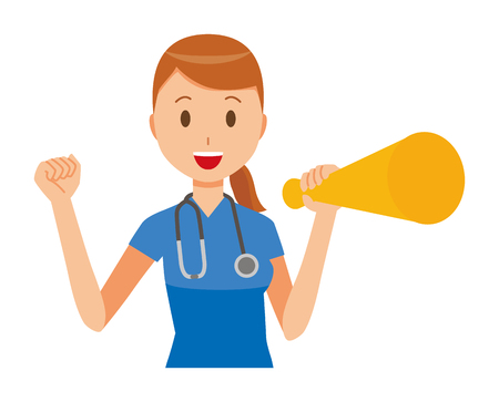 A female nurse wearing a blue scrub has a megaphone.