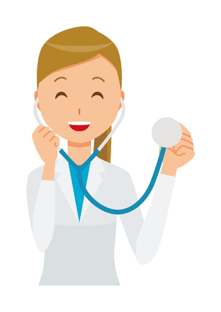 A female doctor wearing a white suit has a stethoscope.