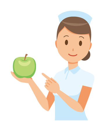 A woman nurse wearing a nurse cap and white coat has a green apple. Ilustracja