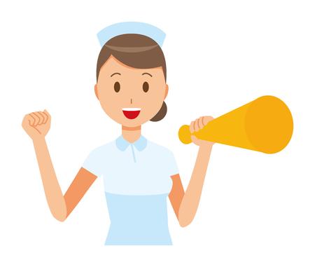 A woman nurse wearing a nurse hat and white coat has a megaphone. Illustration