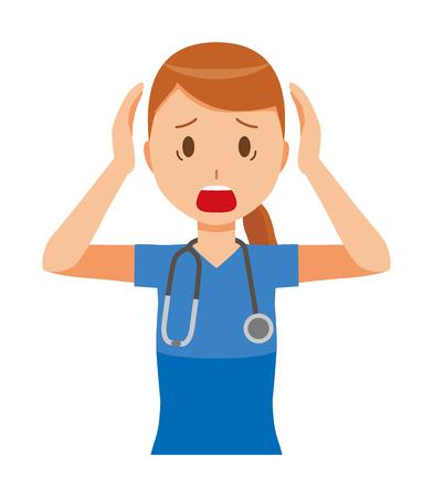 A woman nurse wearing a blue scrub is in a panic. Иллюстрация