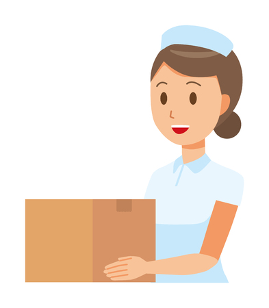 A woman nurse wearing a nurse cap and white coat has a cardboard box. Illustration
