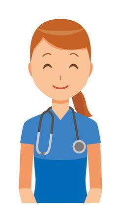 A woman nurse wearing a blue scrub is smiling