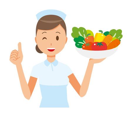 A woman nurse wearing a nurse cap and white coat has vegetables. Ilustracja